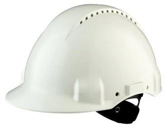 3M™ Hełm ochronny G3000NUV-VI, biały, z wskaźnikiem Uvicator, z płynną regulacją śrubową, z opaską przeciwpotną z tworzywa sztucznego, z wentylacją