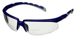 Okulary ochronne 3M™ Solus™ 2000, niebiesko-szare zauszniki, odporność na zaparowanie/zarysowanie, bezbarwne soczewki korekcyjne do czytania +1,5, S2015AF-BLU