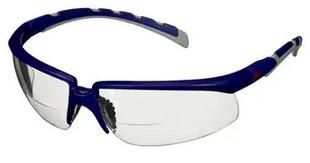 Okulary ochronne 3M™ Solus™ 2000, niebiesko-szare zauszniki, odporność na zaparowanie/zarysowanie, bezbarwne soczewki korekcyjne do czytania +2,0, S2020AF-BLU