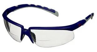 Okulary ochronne 3M™ Solus™ 2000, niebiesko-szare zauszniki, odporność na zaparowanie/zarysowanie, bezbarwne soczewki korekcyjne do czytania +2,5, S2025AF-BLU